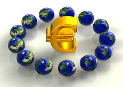 Símbolo del euro rodeado de bolas del mundo