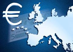 Mapa de europa y símbolo del euro