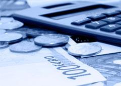 Una calculadora y euros