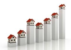 El dibujo de un gráfico formado por barras y encima de cada una de ellas el dibujo de una casa