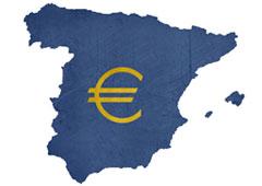 Símbolo del euro sobre un mapa de España