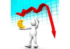Gráfico descendente y un muñeco con el símbolo del euro