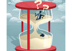 Trabajador atrapado en un reloj de arena