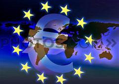 Símbolo del euro sobre mapamundi