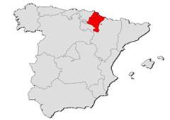 Resaltada Navarra dentro de un mapa de España