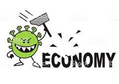 Dibujo de coronavirus rompiendo palabra economy