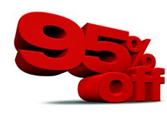 La cifra 95% en color rojo