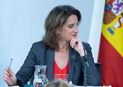 La ministra para la Transición Ecológica, Teresa Ribera, durante su intervención en la rueda de prensa posterior al Consejo de Ministros.