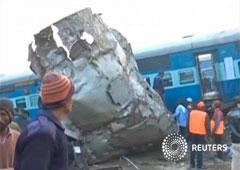 El tren siniestrado en Kanpur, Uttar Pradesh, en una imagen tomada de vídeo el 20 de noviembre de 2016