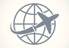 Dibujo de un avión alrededor del mundo