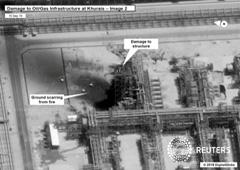 Esta imagen por satélite muestra los daños a una instalación de hidrocarburos de Saudi Aramco en Khurais, Arabia Saudí. Imagen cedida por el gobierno estadounidense el 15 de septiembre de 2019.