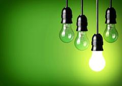 Cuatro bombillas de color verde