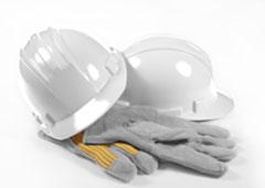 Casco y guantes de trabajo