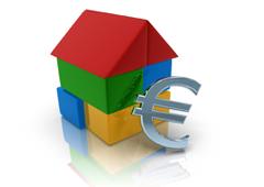 Símbolo del euro y casita