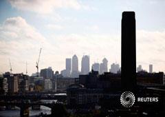 El distrito financiero de Canary Wharf y la City de Londres desde el edificio Sea Containers en Londres