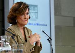 Carmen Calvo, vicepresidenta del Gobierno, ministra de la Presidencia, Relaciones con las Cortes e Igualdad en funciones.