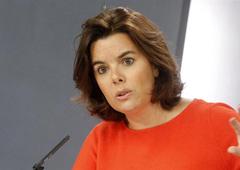 a vicepresidenta, ministra de la Presidencia y portavoz del Gobierno en funciones, Soraya Sáenz de Santamaría, durante la rueda de prensa posterior al Consejo de Ministros.