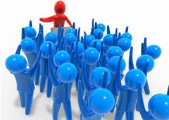 Un muñequito rojo dando un discurso y otros muñequitos azules con los brazos levantados