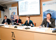 De izda. a dcha. Jordi Albareda, José María Alonso, Victoria Ortega y Javier Garicano