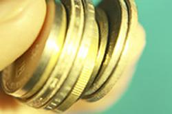 Monedas de euro amontonadas