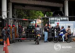 La entrada de 'El Helicoide', un centro de detención del Servicio Nacional de Inteligencia Bolivariano (SEBIN), donde el vicepresidente de la Asamblea Nacional, Edgar Zambrano, está bajo arresto, en Caracas. 9 de mayo 2019
