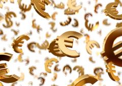Símbolos de euros dorados