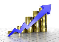 Flecha ascendente y monedas