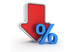 Porcentaje y flecha hacia abajo