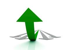 Flecha verde ascendente