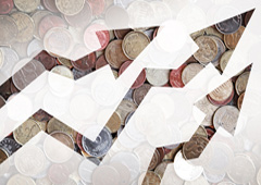 Flechas ascendentes y monedas
