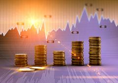 Un gráfico y unas monedas