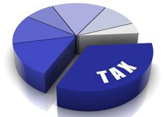 Quesito de colores morados con la palabra Tax