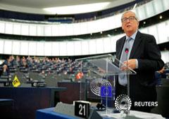 Foto del miércoles del presidente de la Comisión Europea, Jean-Claude Juncker, hablando ante el plenario del Parlamento Europeo. Sep 18, 2019.