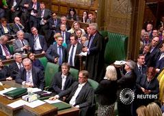 El presidente de la Cámara de los Comunes, John Bercow, habla en el Parlamento en Londres, Gran Bretaña, Abril 3, 2019,en esta imagen tomada de video