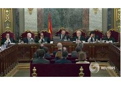 Los líderes separatistas catalanes en el juicio ante el Tribunal Supremo, en Madrid, el 12 de febrero de 2019