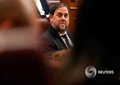 El político catalán encarcelado, Oriol Junqueras, asiste a la primera sesión del Parlamento tras las elecciones generales celebradas en Madrid, España, el 21 de mayo de 2019