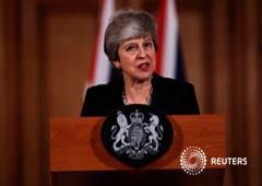 La primera ministra británica, Theresa May, ofrece una rueda de prensa tras una reunión de gabinete en Londres. 2 de abril de 2019
