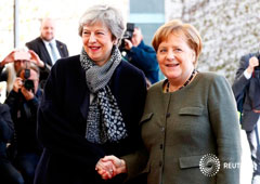 Primera ministra británica, Theresa May, junto a la Canciller alemana, Angela Merkel, en su reunión para discutir sobre el Brexit en Berlín, Alemania. 9 de abril de 2019