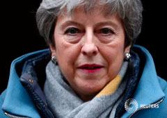 La primera ministra británica, Theresa May, fuera de la residencia del gobierno en Londres. 20 de marzo de 2019
