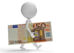 Un muñeco llevando un billete de cincuenta euros