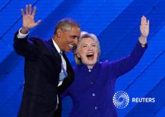 Obama y Clinton durante la Convención Nacional Demócrata en Filadelfia, Pensilvania, el 27 de julio de 2016