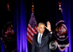 Obama saluda después de ofrecer un discurso de despedida en Chicago, Estados Unidos, el 10 de enero del 2017