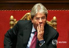 El ministro de Asuntos Exteriores de Italy Paolo Gentiloni en una reunión en el Senado en Roma, Italia, el 5 de abril de 2016