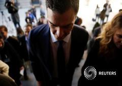 El líder del PSOE Pedro Sánchez, antes de la rueda de prensa del martes