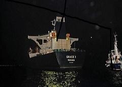 Superpetrolero Grace 1, sospechoso de transportar crudo iraní a Siria, fotografiado en aguas del territorio británico de ultramar de Gibraltar, históricamente reclamado por España, el 4 de julio de 2019.