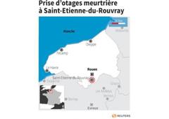Un sacerdote que había sido secuestrado en una iglesia en Normandía, en el norte de Francia, fue asesinado con un arma blanca, dijo el martes una fuente policial a Reuters. En la imagen, un gráfico con el lugar del suceso elaborado por Reuters.
