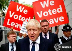 Imagen de archivo de Boris Johnson saliendo hacia su oficina en Londres, Reino Unido. 22 de julio, 2019.