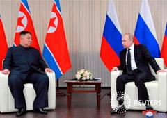 El líder norcoreano, Kim Jong Un, se reúne con el presidente ruso, Vladimir Putin, en Vladivostok, Rusia, en esta foto sin fecha publicada el 25 de abril de 2019 por la Agencia Central de Noticias de Corea del Norte (KCNA).