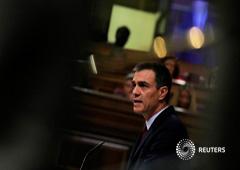 El presidente en funciones de España, Pedro Sánchez, pronuncia un discurso durante el debate de investidura en el Parlamento de Madrid, España, el 22 de julio de 2019