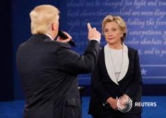 El candidato republicano a la presidencia de Estados Unidos, Donald Trump, habla durante su segundo debate con la candidata presidencial demócrata, Hillary Clinton, en la Washington University en St. Louis, Misuri, Estados Unidos, 9 de octubre del 2016